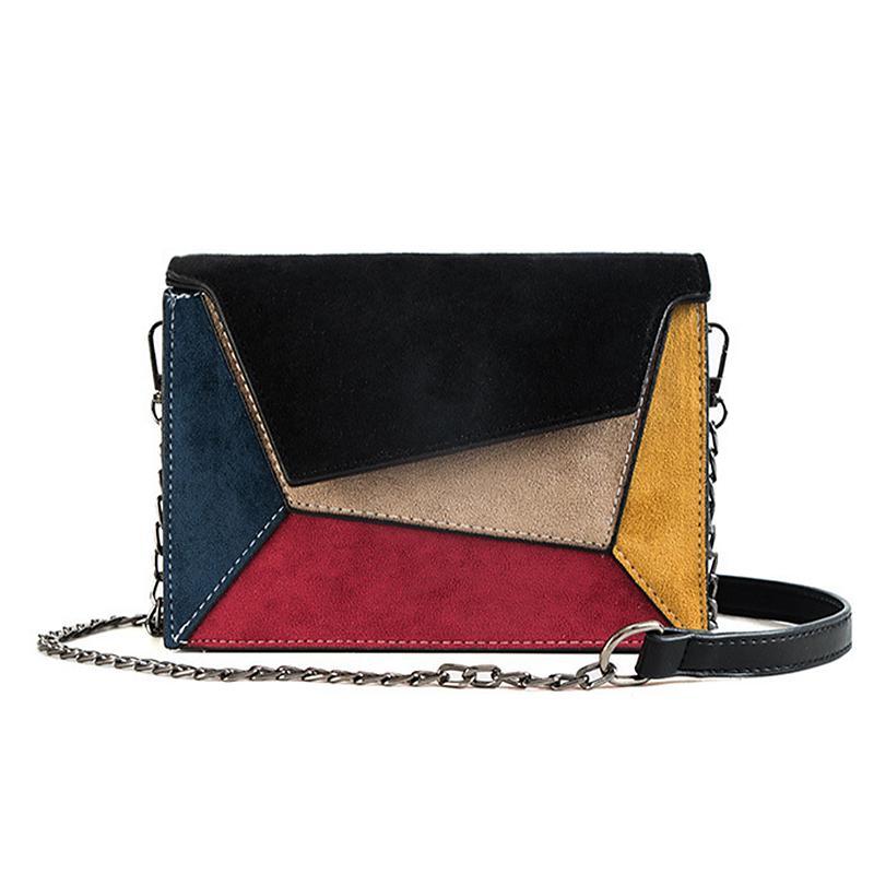 New Design Retalhos cores Mulheres Handbag Flap Celular Bag Multi-color Crossbody Bag PU Leather Shoulder único para viagem