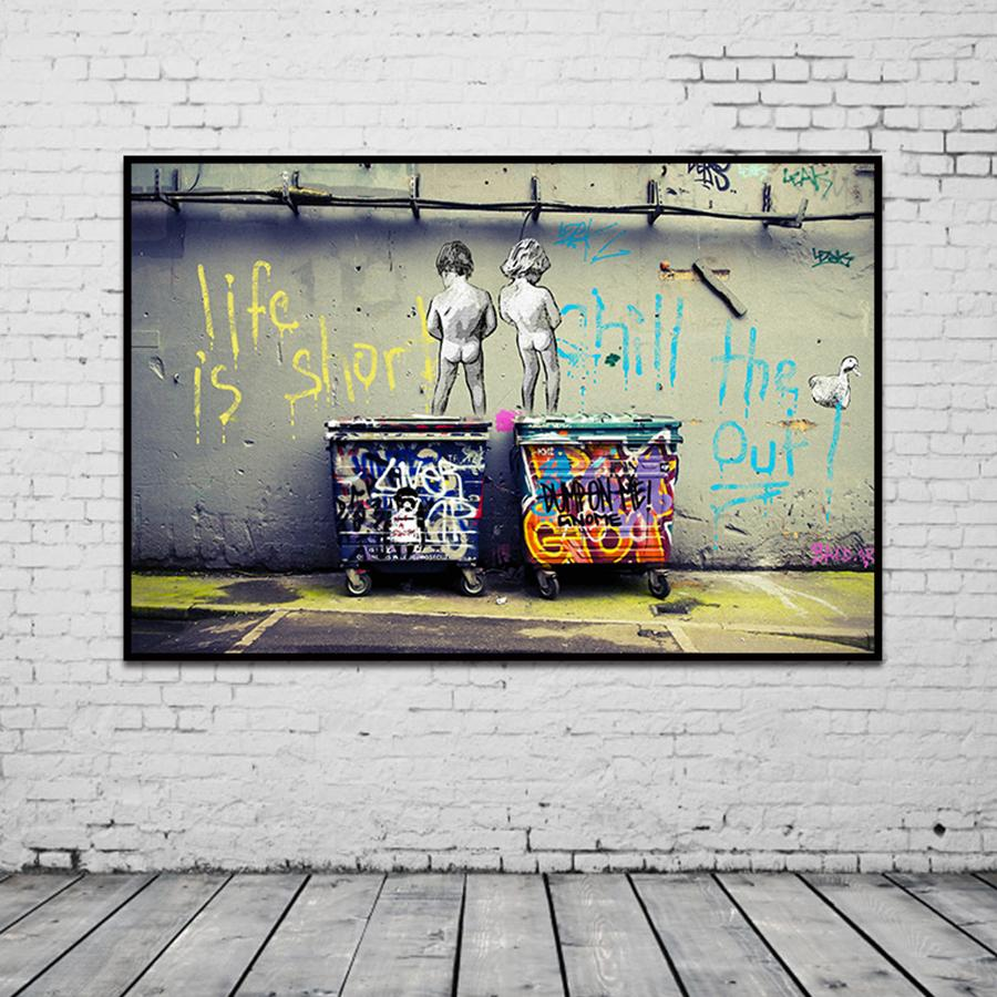 """Banksy Graffiti Art Abstract Canvas Painting Posters and Prints """"Life Is Short Chill The Duck Out"""" Wall Canvas Art Home Decor T200319"""