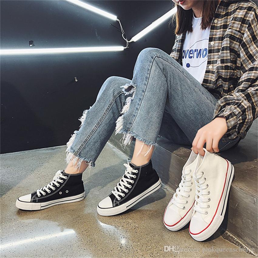 Zapatos sólida amante del color calzado primavera Ulzzang zapatillas zapatillas de deporte del patín de las mujeres High Cut invierno lona unisex 30% Tejas tablero ocasional