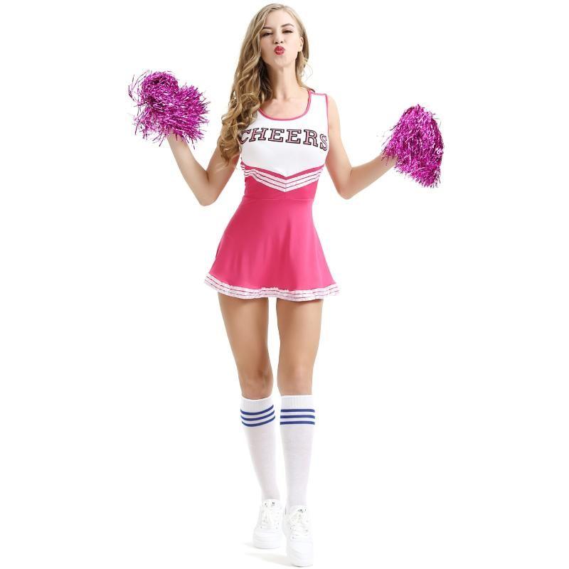 Menina de dança Mostrar Cheerleader Palco Performance Vestido Vermelho + Pompoms Cheerleading Costumes Adulto High School de elogio uniformes