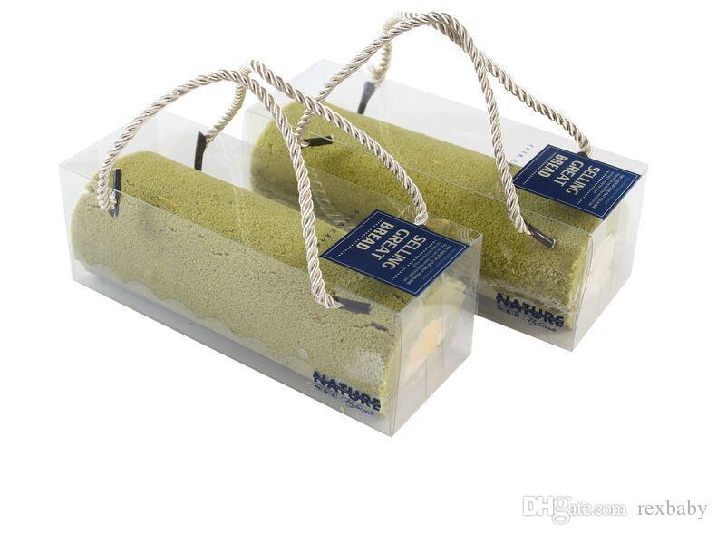 18 * 6.5 * 6.5cm مربع التعبئة الخبز PET واضحة للسويسري لفة كعكة كب كيك المحمولة ون مربع