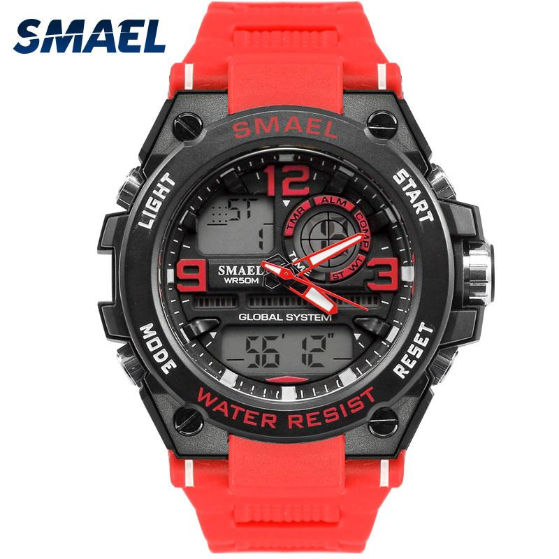 방수 남성 스포츠 시계 SMAEL 브랜드 레드 컬러 LED 전자 크로노 그래프 자동 날짜 손목 시계 야외 스포츠 시계 1603
