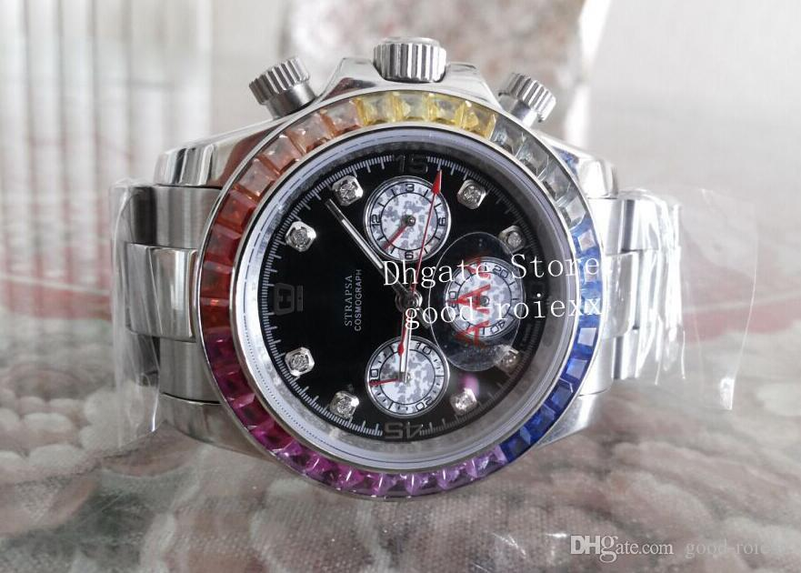 Luxus Herren Bunte Diamant Lünette Chronograph Vk OS Quarz Japan Uhr Männer Kosmograph Kristall Uhren Männer Sport Perpetual Armbanduhren