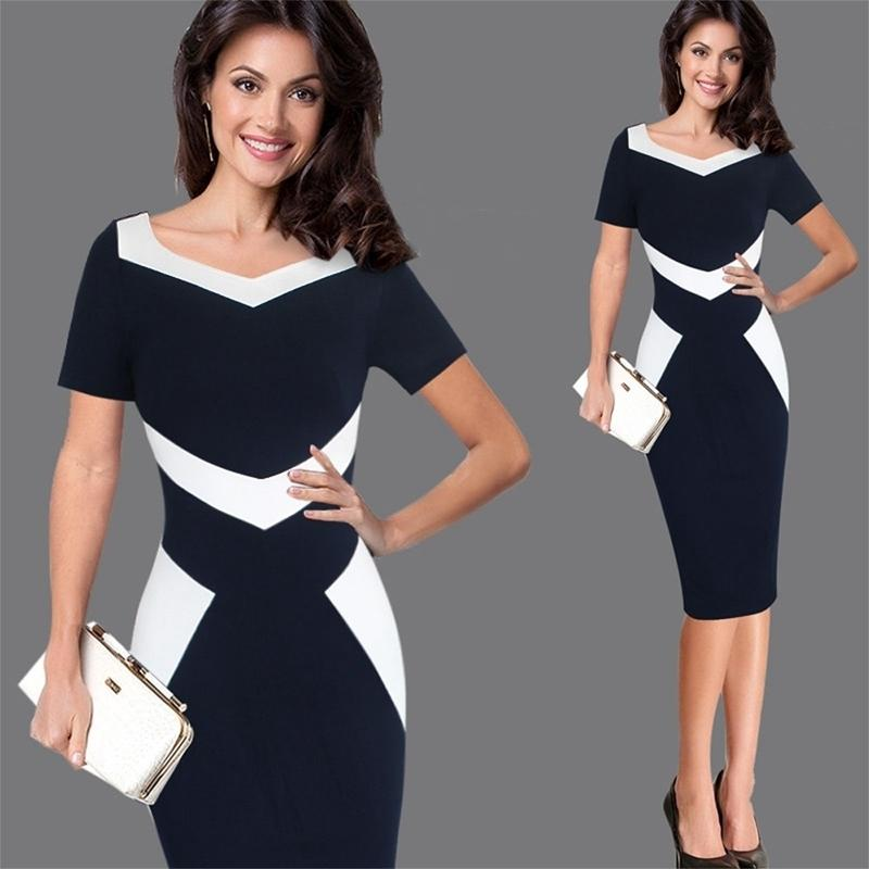 Women Elegant Patchwork Office Business Party Evening One Piece Dress Suit Mother Of Bride Special Occasion Sheath Bodycon Dress Y19051402