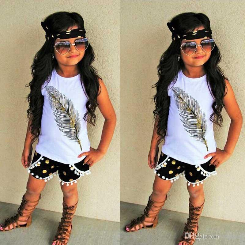 New Arrival Cute Baby Girl Clothes Set 2019 Summer Toddler Kids Sleeveless Tops T-shirt +Denim Shorts+ Headband 3Pcs Outfits Clothes C21