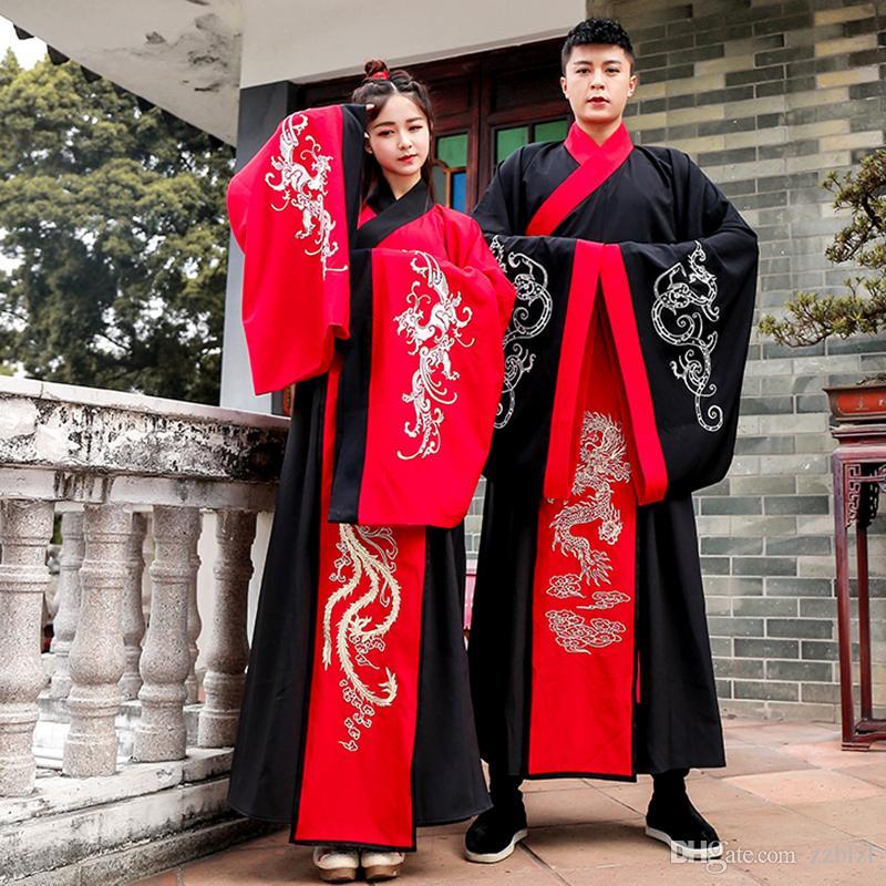 زوجين الصيني القديم الشتاء هانفو اللباس الأكمام الكبيرة عشاق الزي التقليدي رجل سيدة الصين ملابس المرحلة الزي القديم