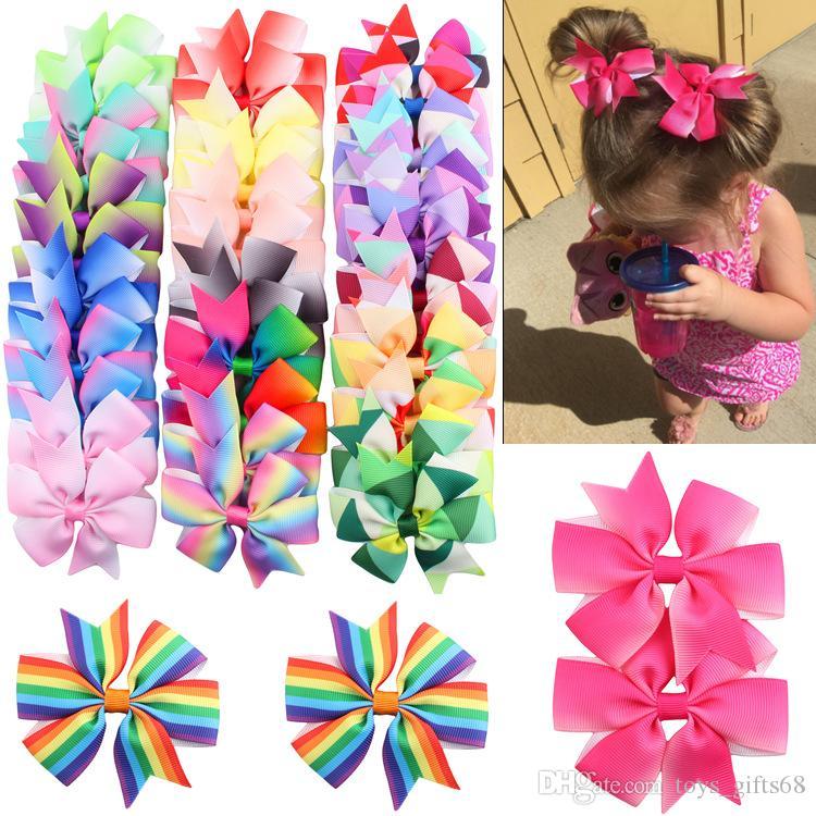 Clip di capelli per bambini per bambini Gradiente Rainbow Ribbon JOJO Principessa di prua per principessa Barrettes accessori per capelli copricapo 40 pezzi