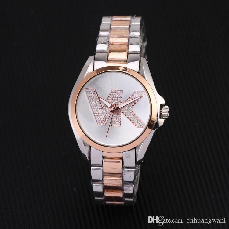 2020 Yeni Lüks Rhinestone Rose Paslanmaz Çelik saatler Orologio'nun Altın kadınları saatler Kadınlar İzle Kuvars Lady Paslanmaz Çelik Marka Saatler