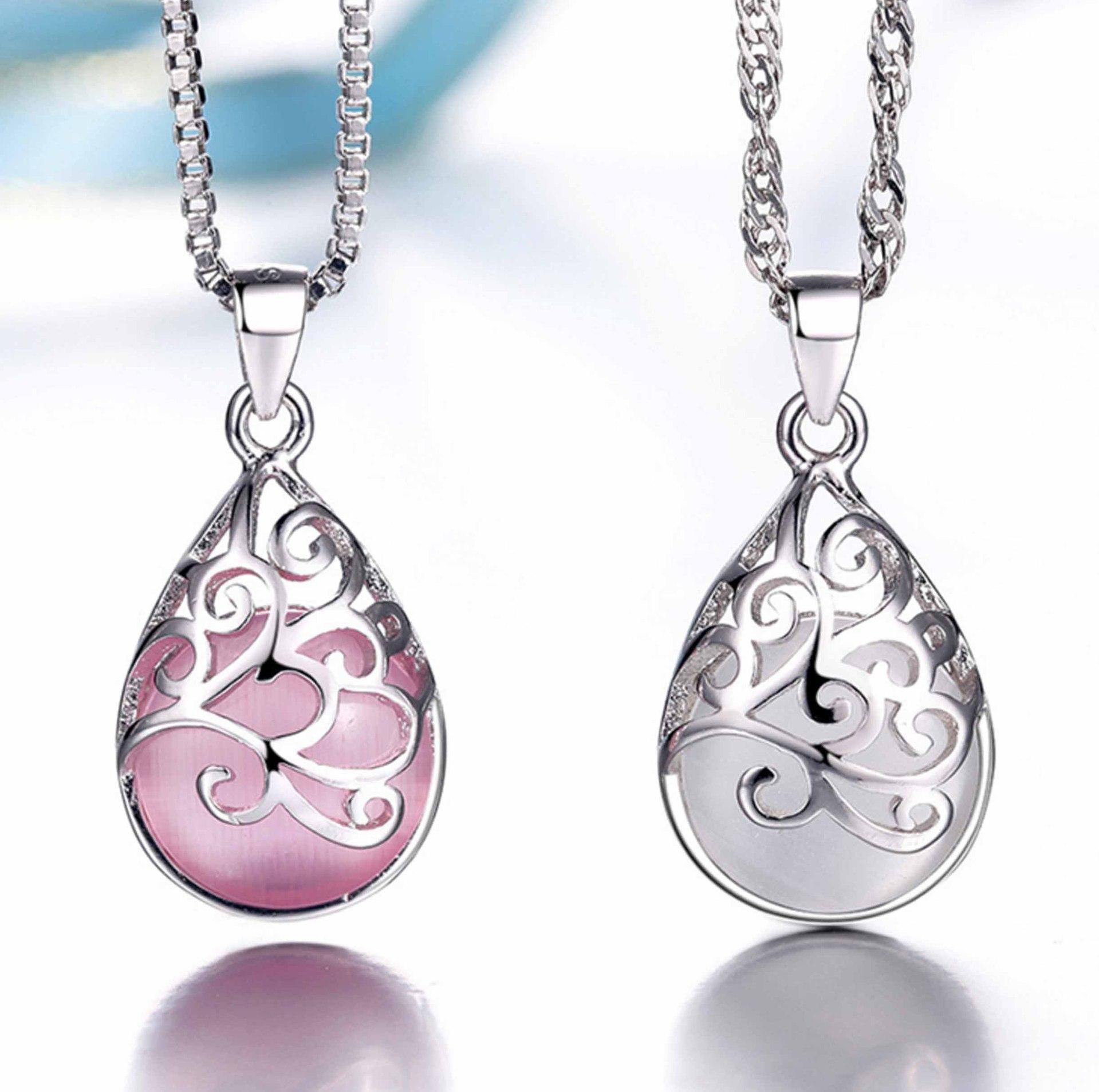 Opal Neckaces Aşk Açı Kadınlar Için Gözyaşı Mehtap Bırak Kolye Neckace Hediye Kutusu Zincir İmitasyon 925 Gümüş Kolye