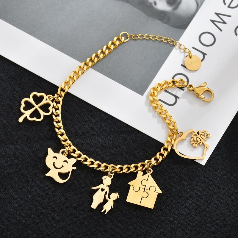 Encantos de aço inoxidável Happy Family Pulseiras para mulheres Homens de ouro cor de sorte ajustável Coração Trevo de quatro folhas Cat Bracelet