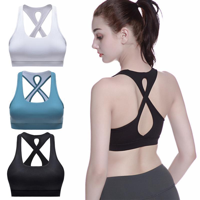 Mulheres Sports Bra roupa da aptidão respirável Correndo Vest malha Patchwork Workout alças de Fitness Yoga Atlético Underwear 8