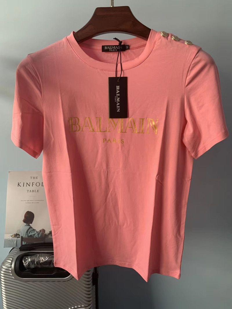 20SS Balmain Womens Stylist T Shirts Fashion Women Stylist Clothes Letter Printing Short Sleeve Tees Size S-XXL