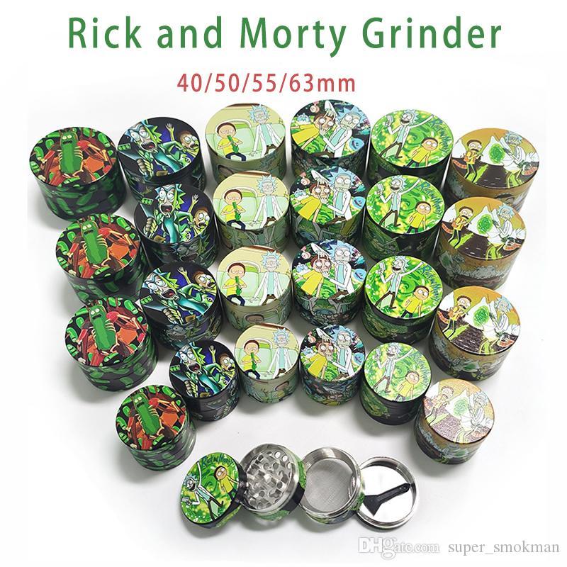 Grinder 40/50/55 / 63mm 2 estilos o 4 capas de tabaco de fumar de metal amoladora amoladoras seco de hierbas vaporizador CNC Filtro Dientes