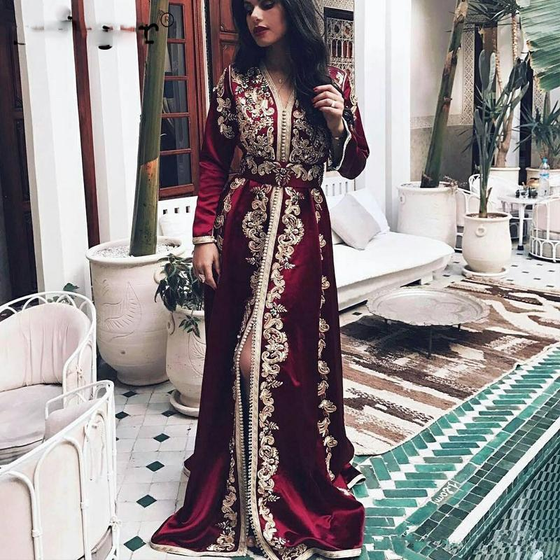 Burgundy Lace Velvet Evening Formal Dresses 2020 Plus Size Sexy Slit Long Sleeve Luxury Detail Muslim Arabic Kaftan Prom Gowns