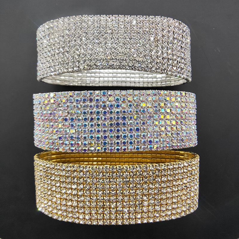 10 rangs en cristal strass anklets en cristal argenté et plaqué or Chaîne de cheville plaqué or AB pierre élastique Stretch Femmes Barefoot Sandal Bracelets