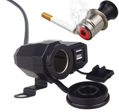 자전거 핸들 바 핸들 12V 담배 라이터 소켓 충전 어댑터 및 3.1A 듀얼 포트 USB 오토바이 전화 충전기