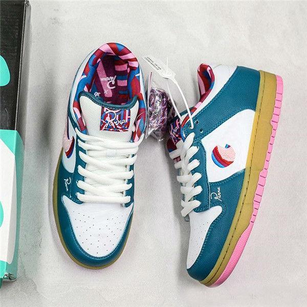 2020 nuevos zapatos de lanzamiento PARRA X SB Dunk Low tablero del patín de felpa blanca del artista abstracto del modelo deportivo de diseño cómodos zapatos del patín
