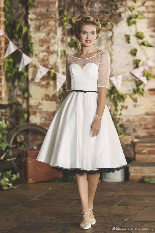 레트로 스타일 차 길이 웨딩 드레스 환상 Bodice 스포트 얇은 명주 그물 오버레이 플러스 사이즈 웨딩 드레스 신부 가운 Vestido de Novia SW004