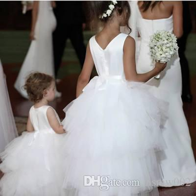White Satin Tops Flower Girl's Dresses High Low Design Ball Gowns for Weddings Holy Communion Partyvestidos de comunion