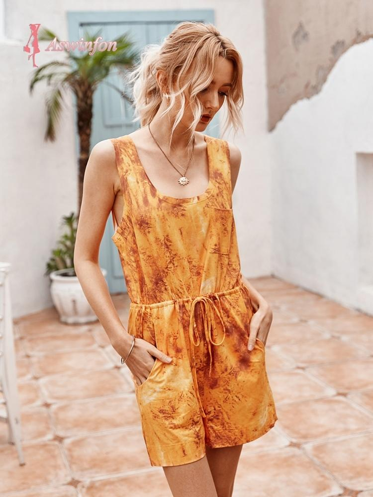 Aswinfon Playsuit Women Summer 2020 Rompers Womens Jumpsuit Shorts Summer Tie-dye Overall Shorts With Pockets Casual Playsuit T200704