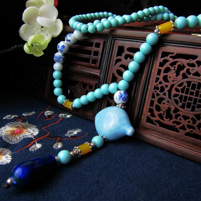 QA347 Nuovi branelli di modo geometriche ciondolo collana lunga catena di Boho donne della collana dell'annata di dichiarazione Gioielli