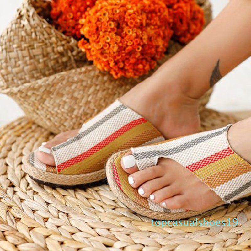 Yumuşak mantar beden terlik tanga kadınlar yaz daireler ayakkabı kadın açık çevirme slaytlar sandalias mujer Sapato feminino t19