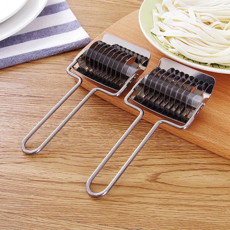 Acier inoxydable Noodle Lattice Rouleau Échalote Cutter pâtes Machines Maker Spaghetti Outils manuels Pâte de cuisine Presse OOA7335