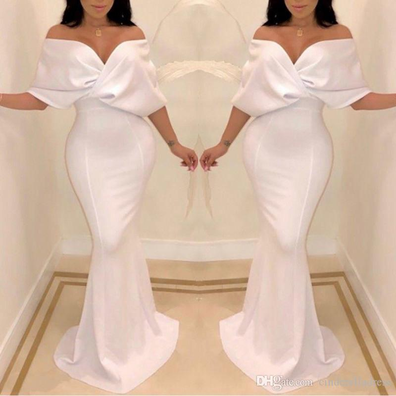 2020 Sexy White Dubai Off the Shoulder Evening Dresses Mermaid Cape Sleeve Floor Length Formal Occasion Prom Party Dresses Custom made