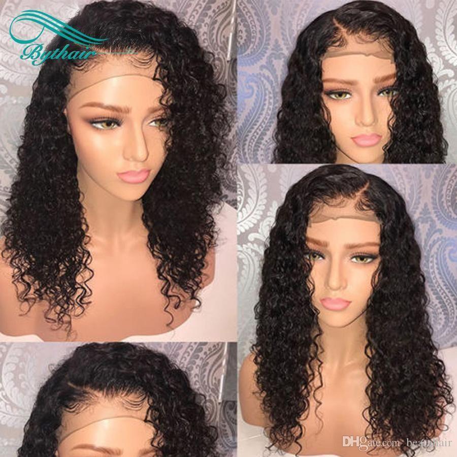 Bythair Vierge cheveux humains avant de dentelle perruque avec bébé cheveux bouclés Pré plumé de dentelle perruques de cheveux humains pour femmes noires Nœuds Blanchis