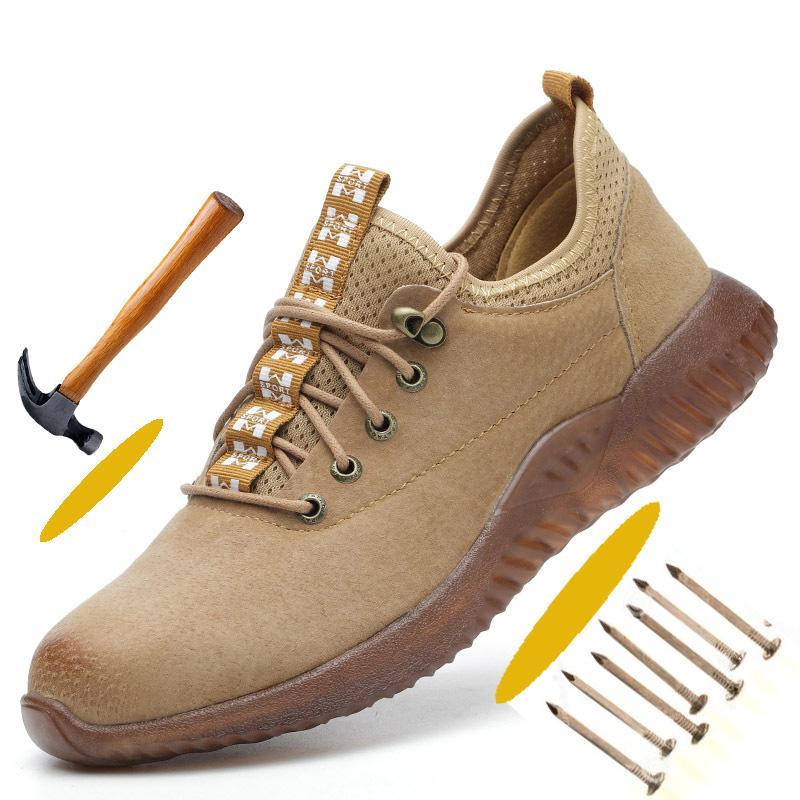 Anti-Hit Zapatos de seguridad del dedo del pie para los zapatos cómodos de los hombres de acero tapón de seguridad de trabajo le protegen los pies sólidos de goma suave hombres de cuero