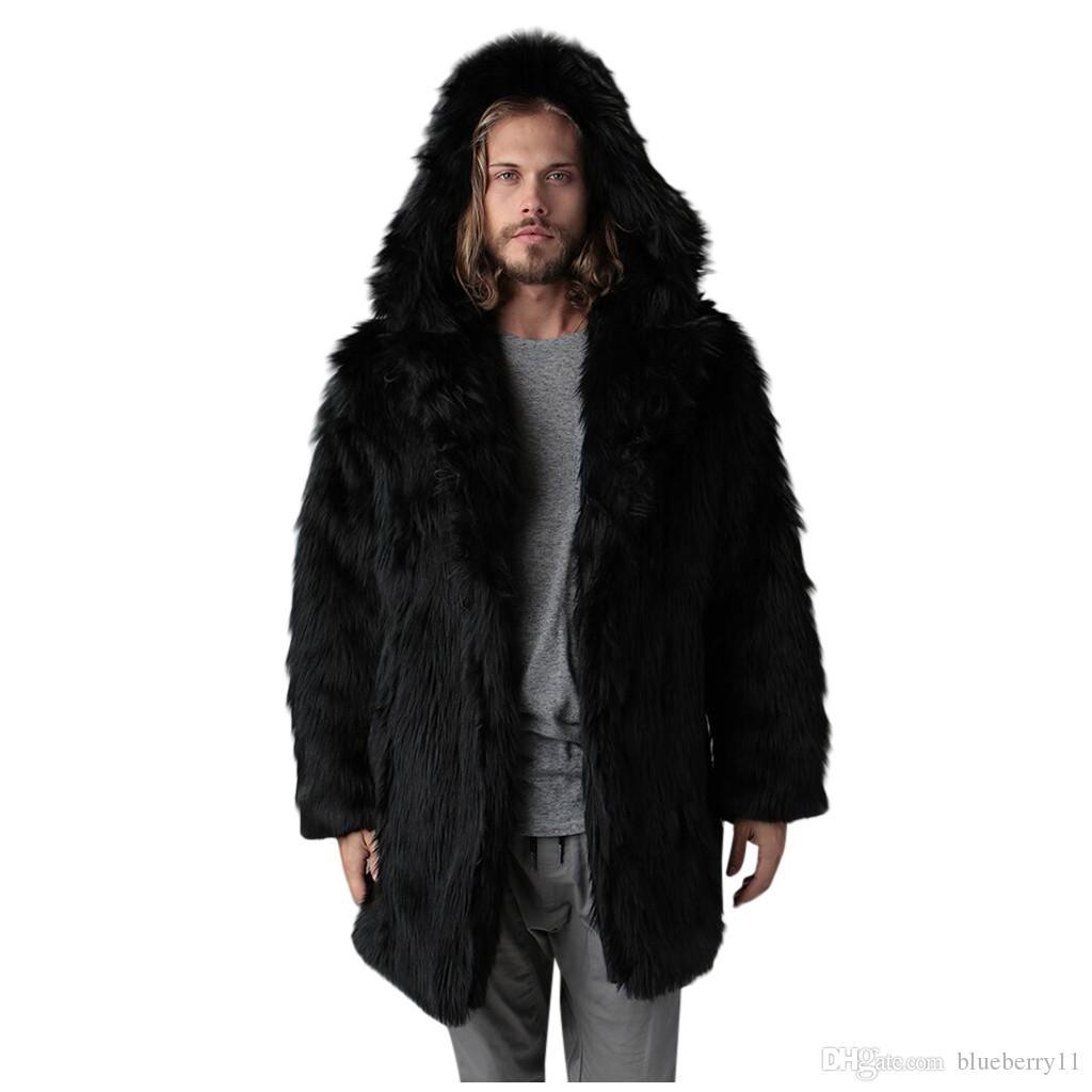 أزياء الشتاء معطف الرجال الحارة الصلبة اللون سميكة مقنع معطف الفراء فو لونغ ذات أكمام كارديجان اسود مشعر