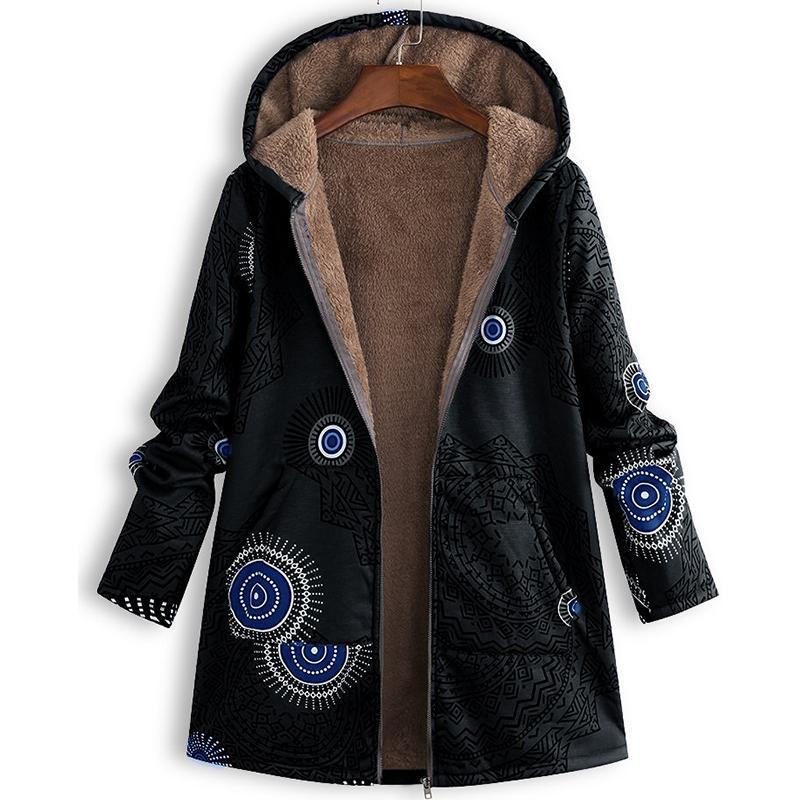 Chic Print Plüsch Damen Mantel koreanische Version Hooded Zipper Street süße Art-Freizeit-Frauen-lange Overcoat Winter-2019