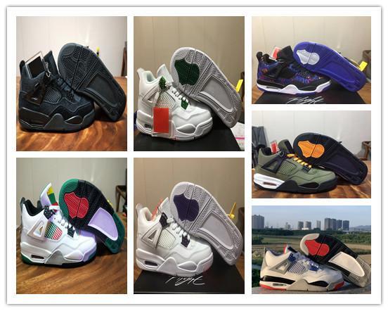 Commercio all'ingrosso con la scatola 2019 nuovo ciò che i Verde Nero Bianco IV 4s uomini scarpe da basket formatori esterni di alta qualità di dimensione il trasporto libero 36-47
