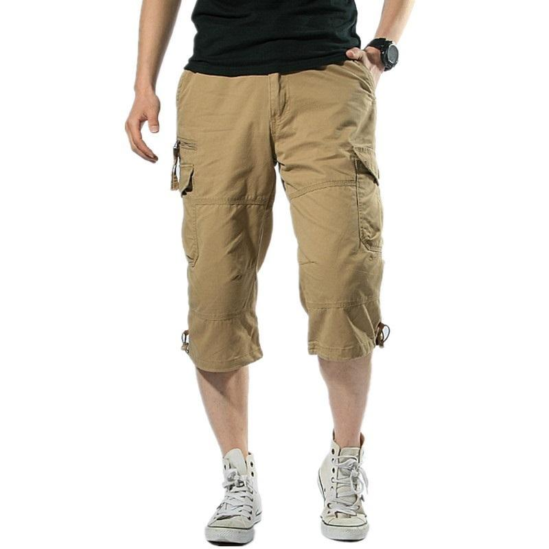 Male Shorts Multi Pocket Summer Loose Zipper Breeches Khaki Grey Plus Size Short Pant Casual Cotton Black Long Mens Cargo Shorts Y190508