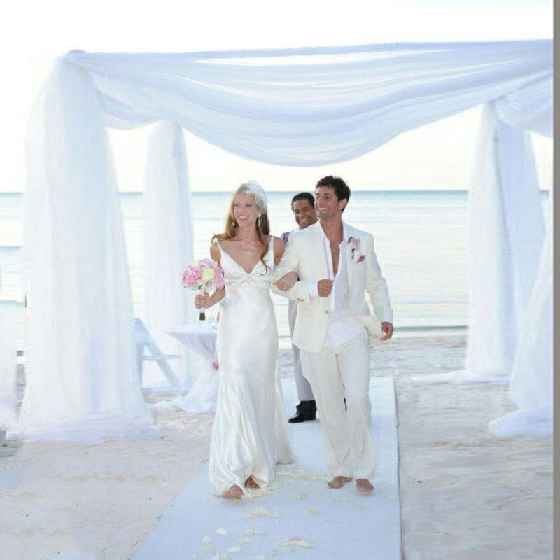 Summer Ivory Linen Men Suits for Beach Wedding Groom Tuxedo Trajes de hombre 2Piece(Coat+Pants)Costume Homme Man Outfits Terno Masculino