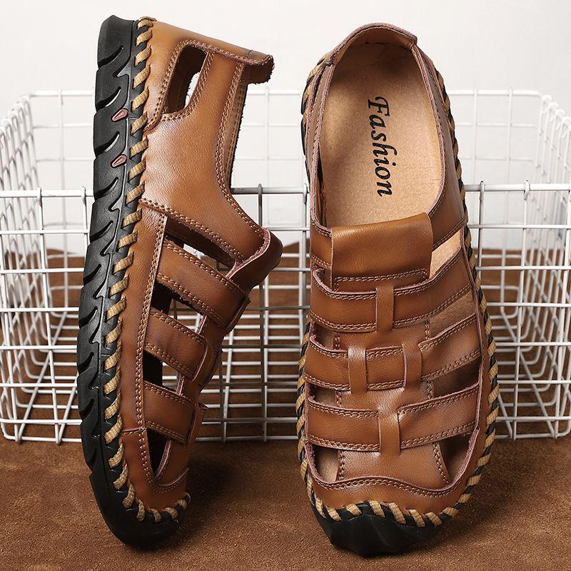 sandalias para hombre 2020 del verano del tamaño grande de 48 hombres 39 s playa de los zapatos hechos a mano sandalias de hombre cuero genuino hueca exterior transpirable