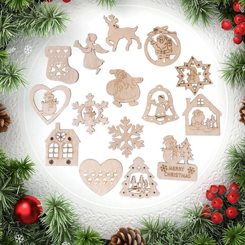 Forma de madera hecho a mano 15pcs ornamento de la Navidad de Papá Noel del copo de nieve del muñeco de madera Ángel fiesta de Navidad de la decoración del arte Prop DBC VT1091
