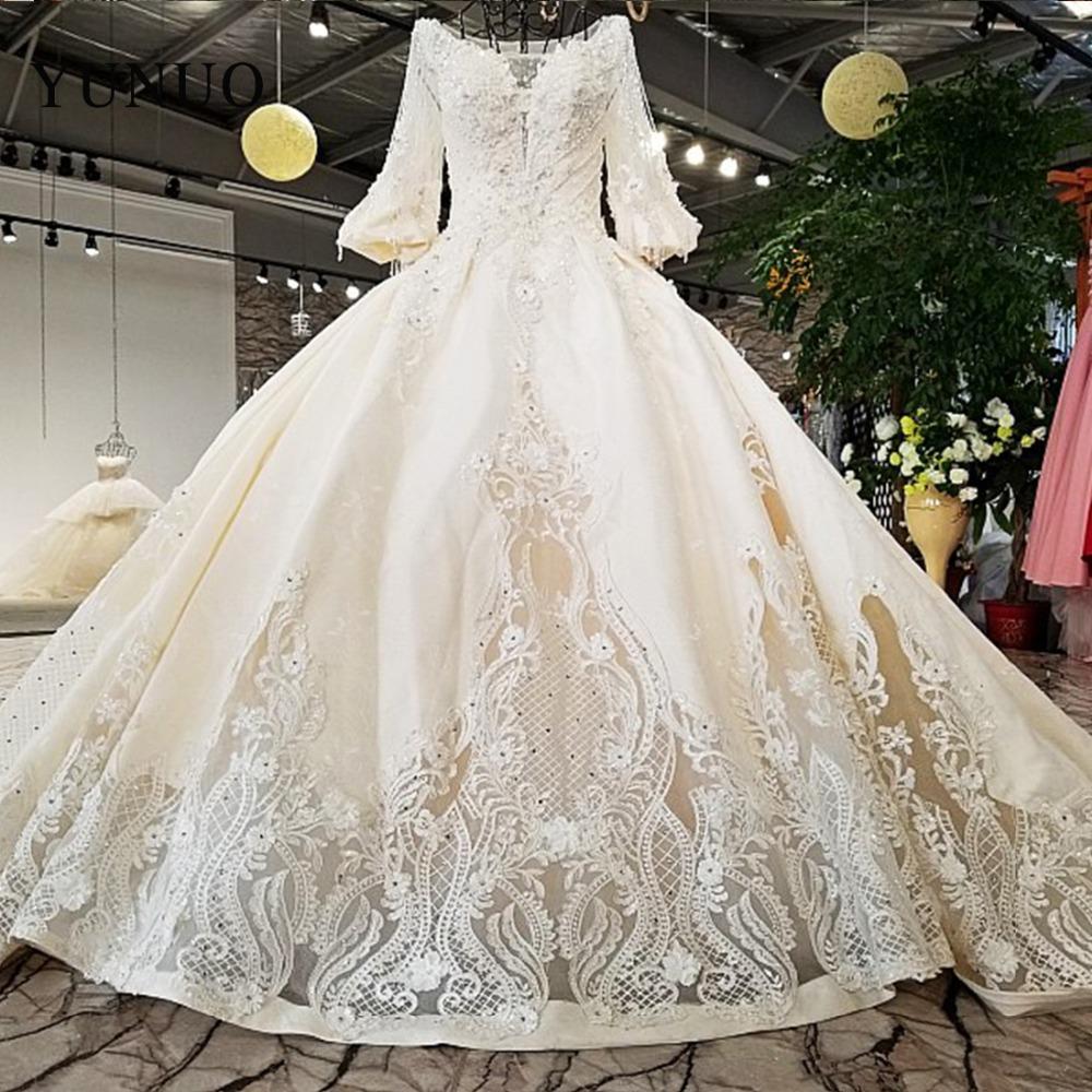 Nouvelle Arrivée Robe De Mariée 2019 Nouvelle Romantique Princesse Appliques À Lacets Appliques A-Ligne Perles Robe De Noiva