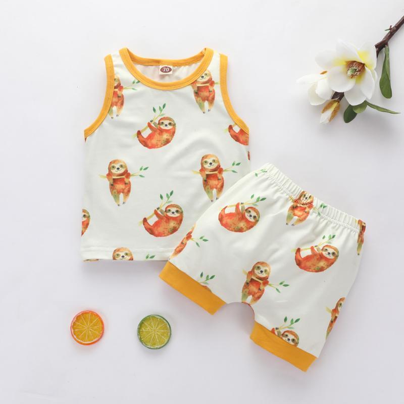 Muchachas de los bebés animal de la historieta del chaleco de los cortocircuitos de verano recién nacido niño Trajes sin mangas y camisetas Pantalones cortos Set infantil equipo del bebé