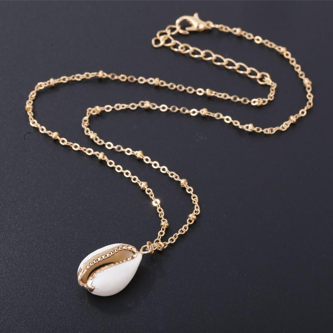 الأزياء قلادة من الذهب الطبيعي شل شل للمرأة الطبيعية Cowrie شل قلادة مع الكفالات مزدوجة الذهب تريم سلسلة قلادة