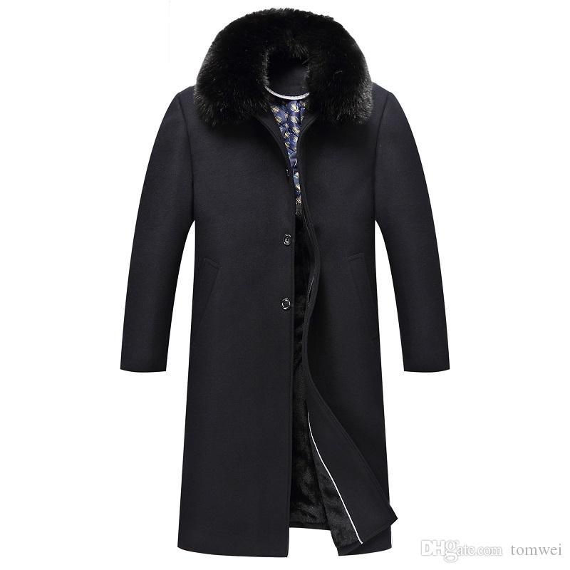 겨울 모직 코트 긴 트렌치 코트 남성 따뜻한 재킷 모피 칼라 겉옷 외투 윈드 두껍게 플러스 플러스 사이즈 옷 2019