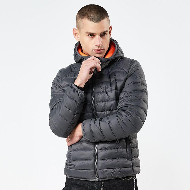 Escudo de Down para hombre del invierno del otoño casual chaquetas con capucha para hombre Outwear rompevientos Simple Warm Ligera Parkas Coats Outwear ropa