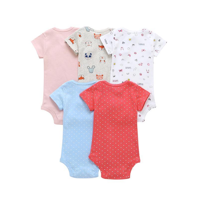 manches courtes pour les vêtements justaucorps bébé fille 2020 été ensemble garçon nouveau-né nouveau-né vêtements costume corps impression costume 5pcs / lot Y200323