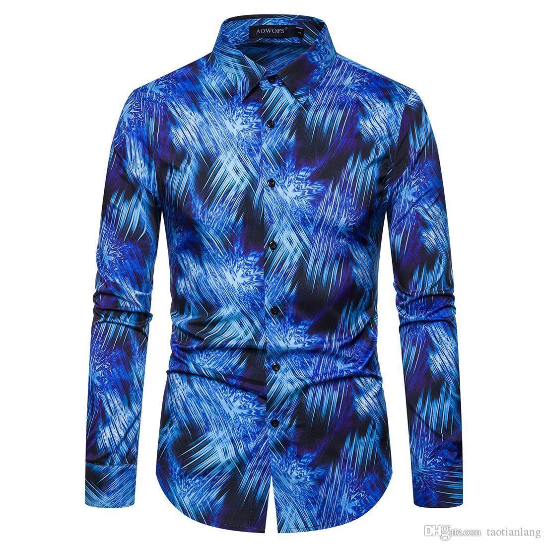 2019 Yeni Geliş Man Moda Gömlek Desen Tasarımı Uzun Kollu Renk Slim Fit adam Casual Gömlek Erkekler Gömlekler J190812 yazdır Boya