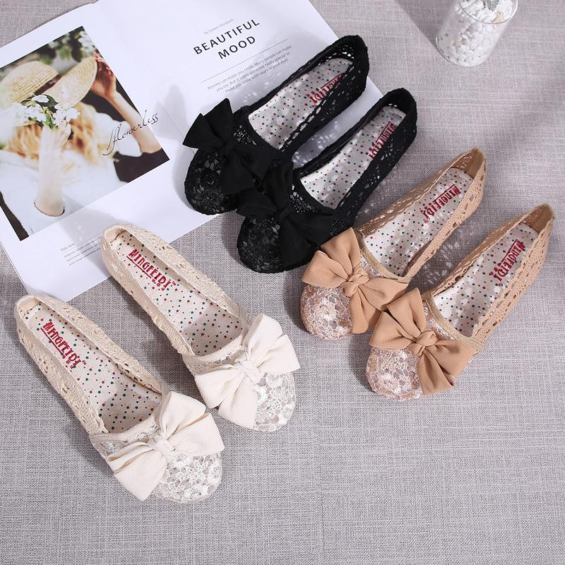 Women Ballet Flats Perspective Lady Ballerina Round Toe Hollow Sexy Crochet Flowers Female Woman Summer Flat Heel Shoes
