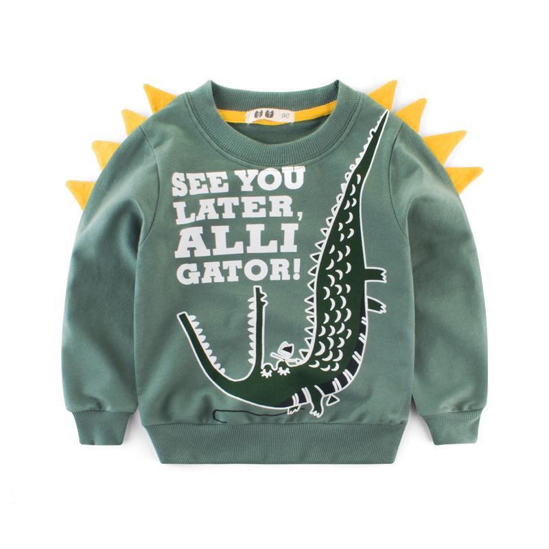 Crianças pulôver dinossauro impresso manga comprida bebê meninos blusas primavera outono crianças tops 90-140cm
