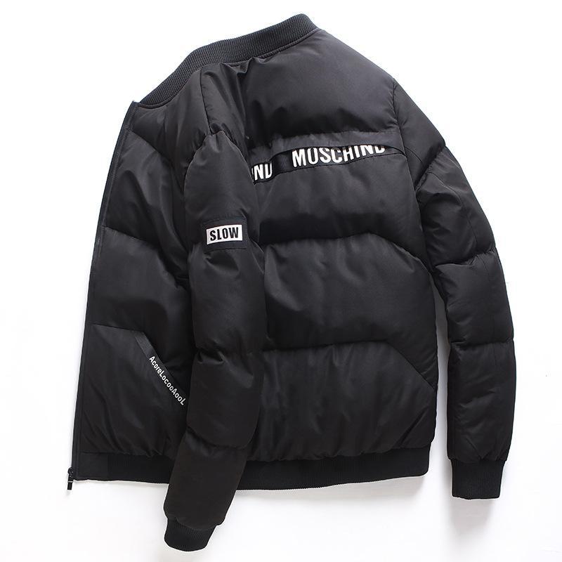 2019 جديد شتاء سميك دافئ أسفل معطف القطن الرجال تناسب ضئيلة عارضة طويلة الأكمام معطف البيسبول طوق الرجال ستر Q5196