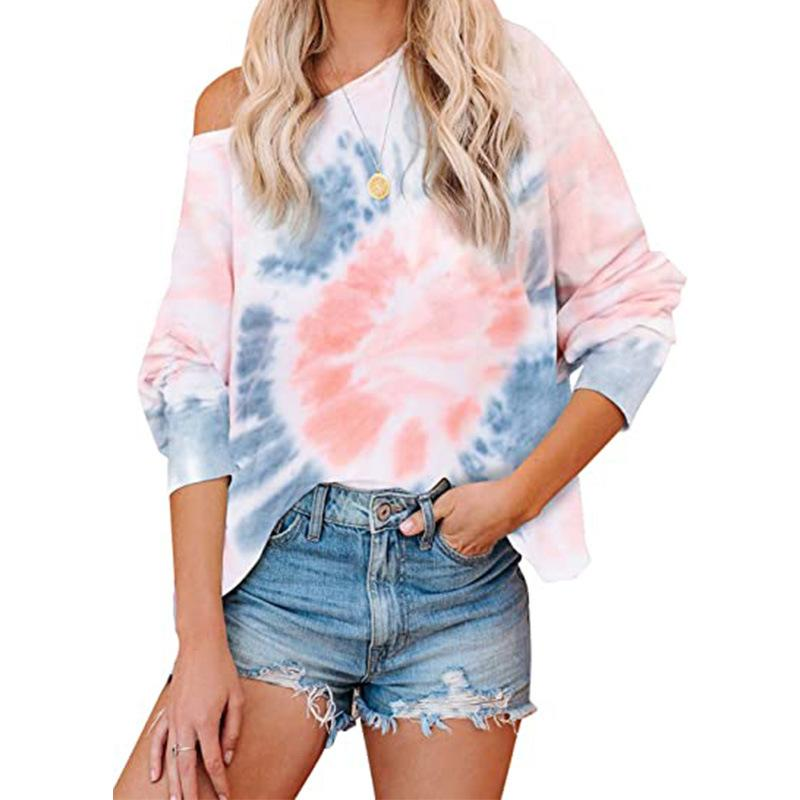 Amazon popular autumn winter 2020 new European and American womens tie dye tapered off collar Tshirt loose top