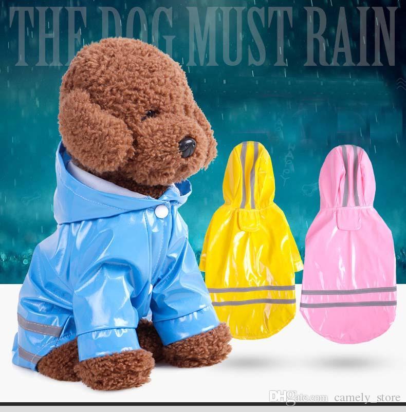 Hot Teddy roupa do cão primavera e no verão capa PU cão de estimação capa reflexiva encapuzados capa Freeshipping