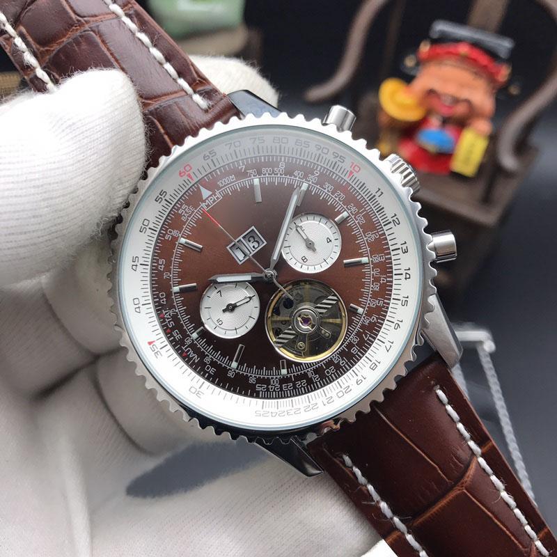 ساعات رجالي التلقائية ووتش أزياء العلامة التجارية الشهيرة التقويم 43mm الوجه للماء الساعات الميكانيكية الفاخرة نوعية جيدة BNL